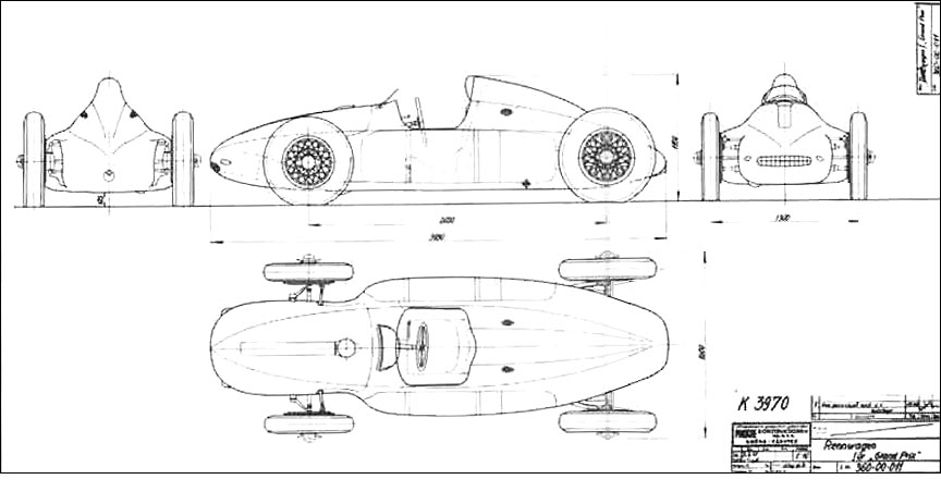 Cisitalia Grand Prix, Porsche type 360 drawing