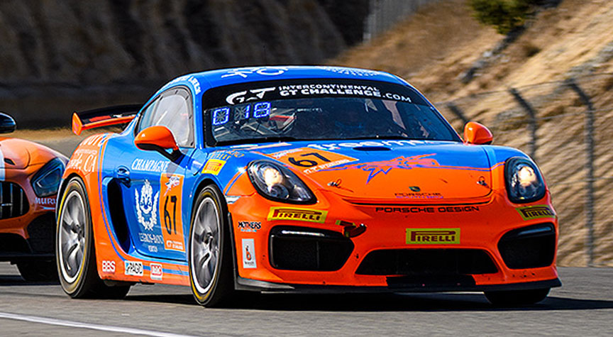 Intercontinental GT Challenge, round 4, California 8 Hours, Laguna Seca, Porsche Cayman GT4, Chris Bellomo, Tom Dyer, Rob Orcutt