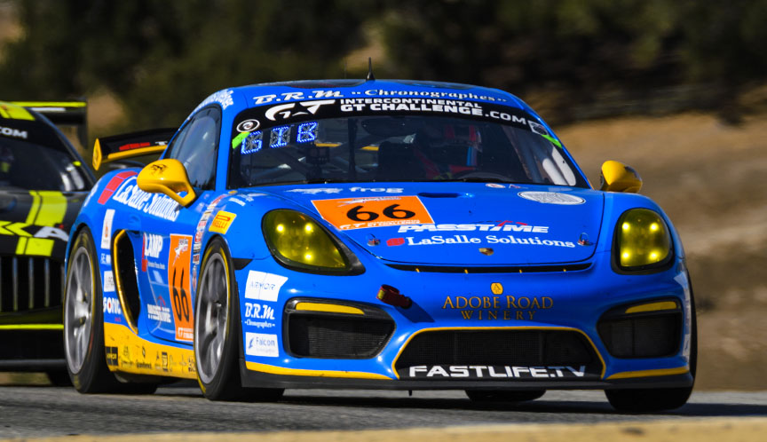 2018 Intercontinental GT Challenge, round 4, California 8 Hours, Laguna Seca, Porsche Cayman GT4, Spencer Pumpelly, Derek DeBoer, Sean Gibbons