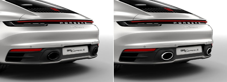 Porsche 911 992 sports exhaust tailpipes - black and steel