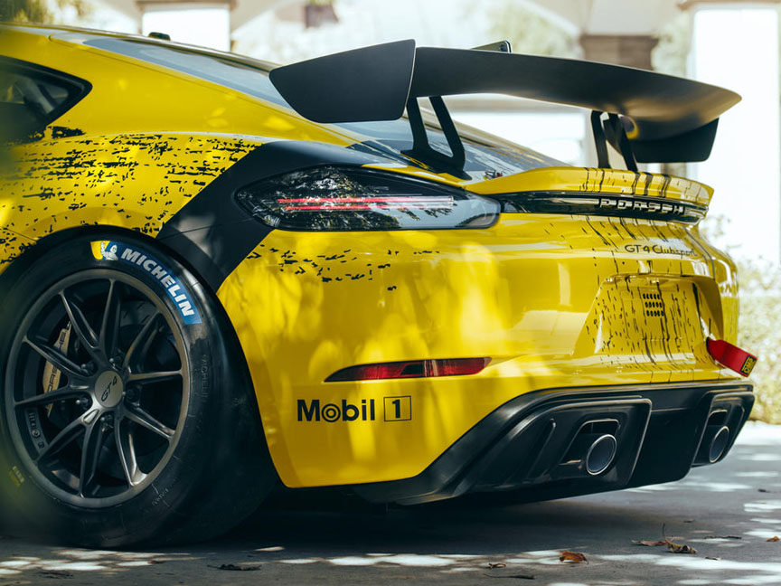 2019 Porsche 718 Cayman GT4 racing car, rear spoiler