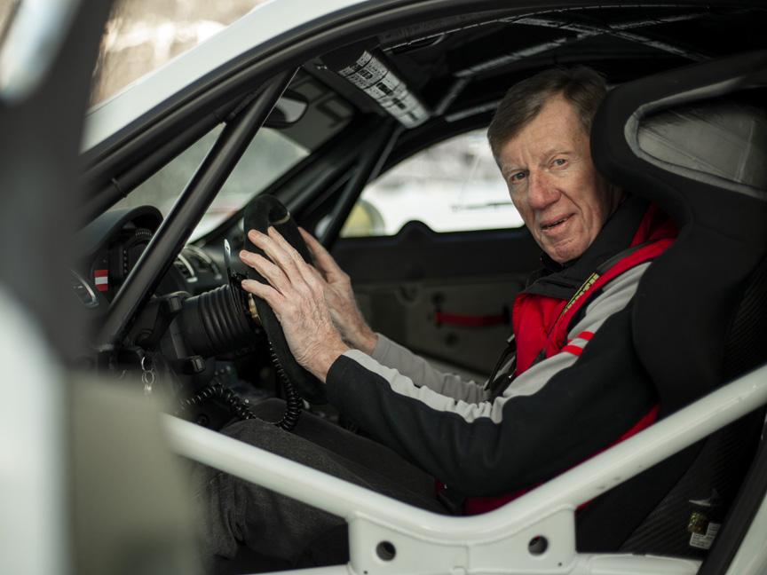Walter Röhrl in the Porsche Cayman 981 R-GT rally car