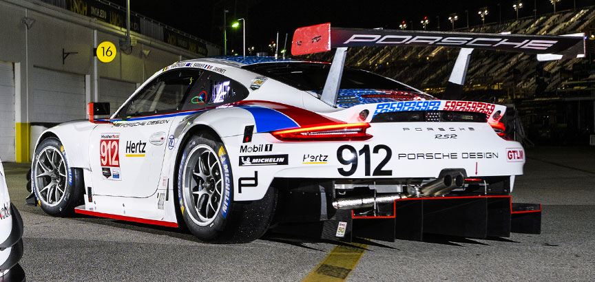 2019 Daytona, Porsche 911 991.2 RSR in Brumos Racing livery, rear view