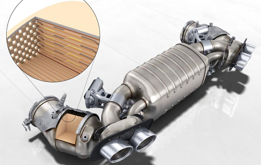 Porsche 911 992.1 Carrera S/4S exhaust system with GPF Gasoline Particulate Filter