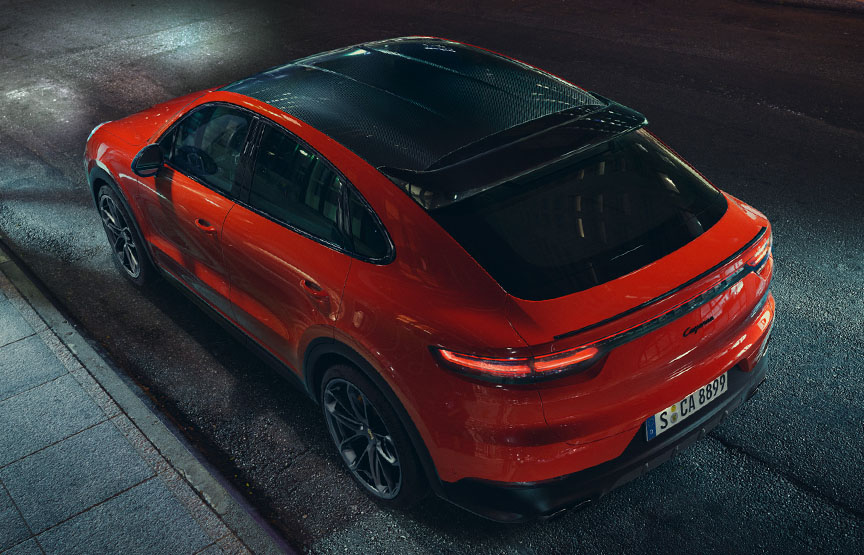2019/2020 Porsche Cayenne Coupe in Lava Orange in the night
