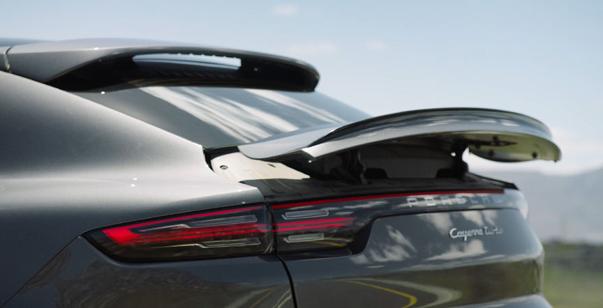 2019/2020 Porsche Cayenne Coupe rear spoiler erected