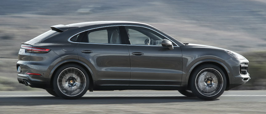2019/2020 Porsche Cayenne Coupe in motion, side view