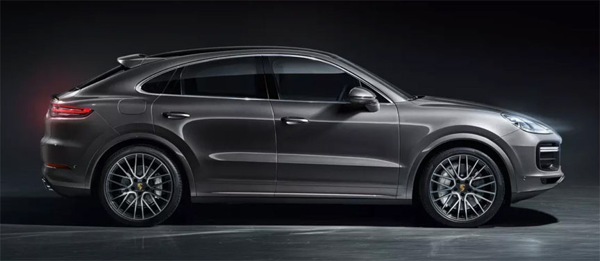 2019/2020 Porsche Cayenne Coupe in dark grey metallic, side view