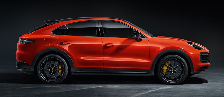 2019/2020 Porsche Cayenne Coupe in Lava Orange, side view