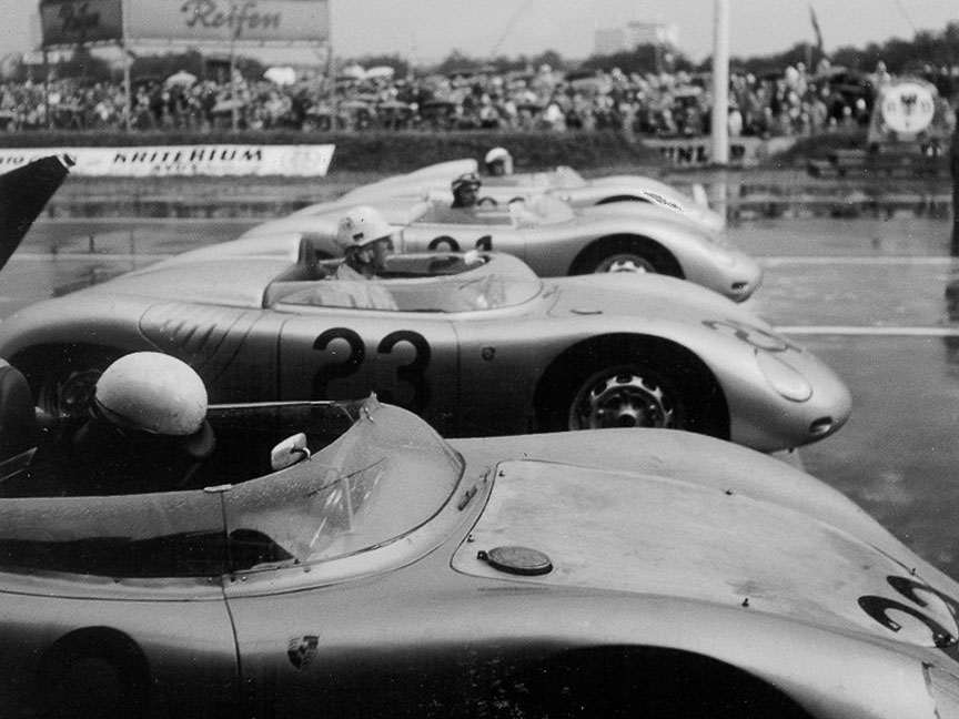 1959 AVUS: Behra, von Trips, Bonnier, all in Porsche 718 RSK