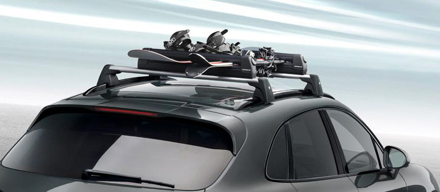 Porsche Macan roof rack with ski and snowboard holder