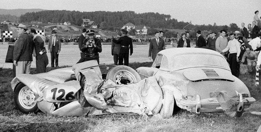 1960 Klagenfurt airfield race, Sepp Greger Porsche 718 accident