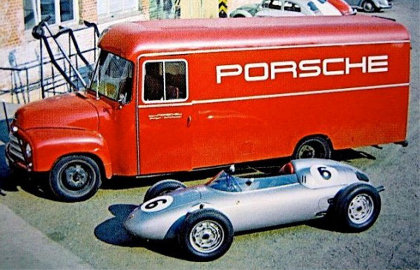1960 Porsche 718 F2 with Porsche factory team truck