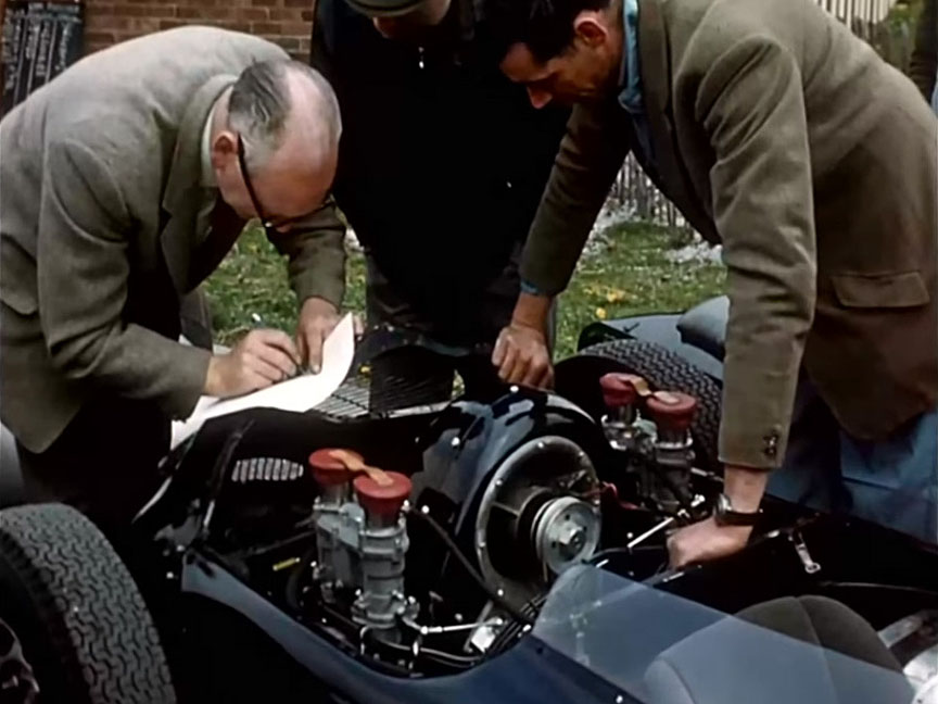 April 1960, scrutineering of Stirling Moss's Porsche 718 F2 at Aintree