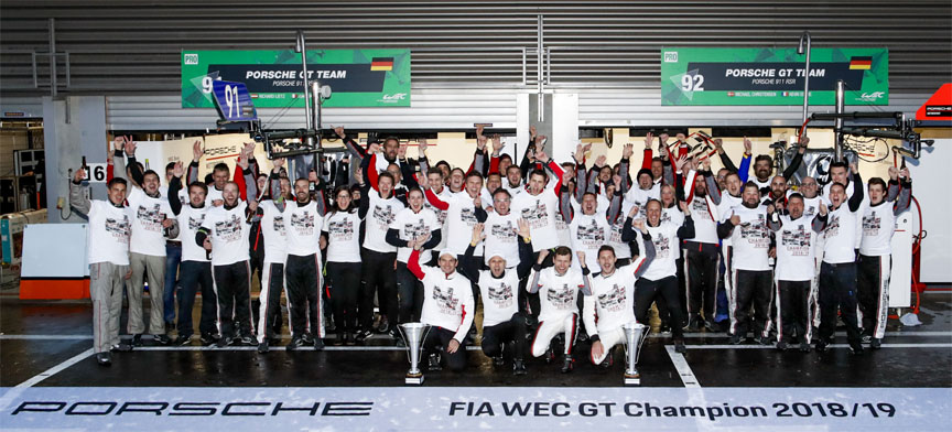 2018/2019 FIA WEC Super Season GT winner: Porsche Motorsport team