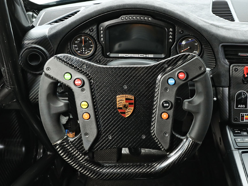 2019 Porsche 935 Tribute steering wheel, stop watch, turbo boost pressure gauge