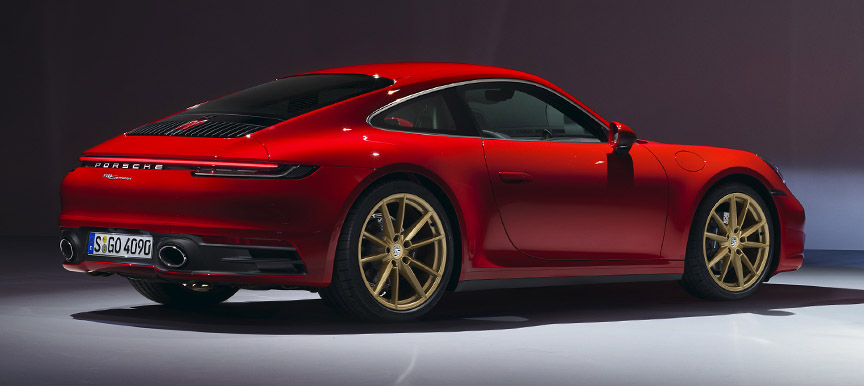 2019/2020 Porsche 911 992 Carrera base version with golden wheels and sports exhaust