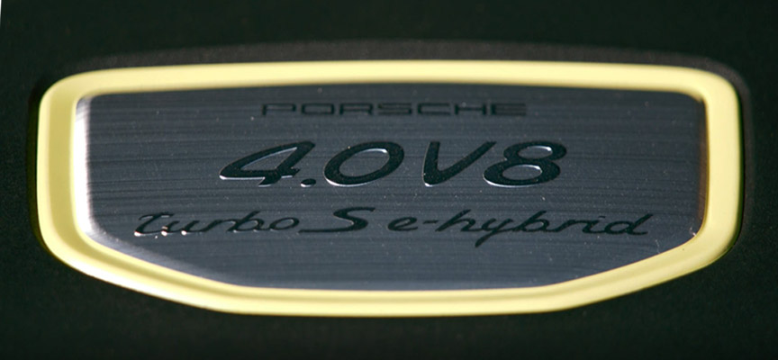 Porsche Cayenne Turbo S E-hybrid logo on engine