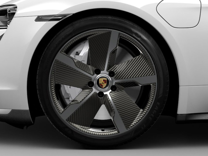 Porschr Taycan wheel with carbon fibre