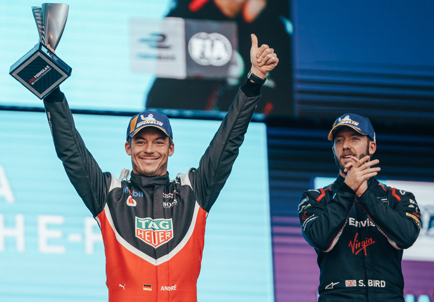 2019 November 22, Diriyah, Formula E, Race 1 podium, Andre Lotterer (2nd), Sam Bird (1st)