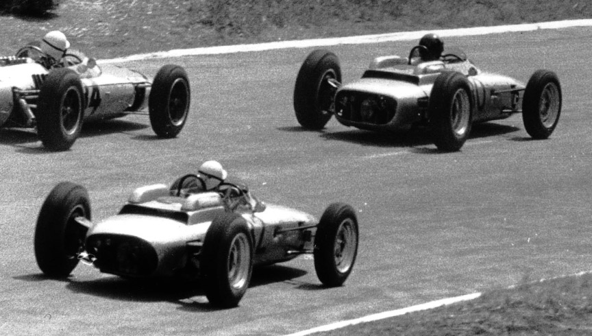 Two Porsche 804 F1 at the French GP in Rouen in 1962