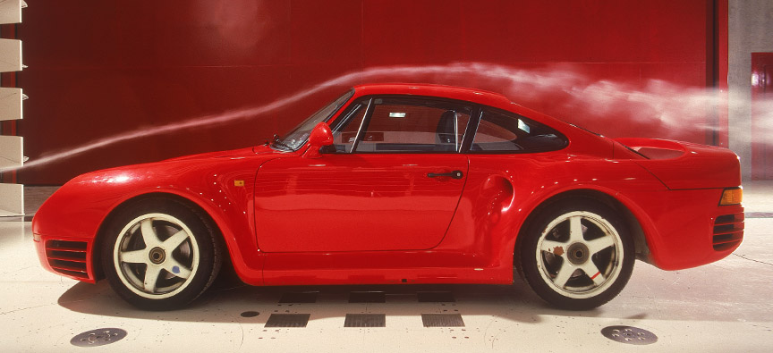 Aerodynamic testing of the Porsche 959 prototype in wind tunnel