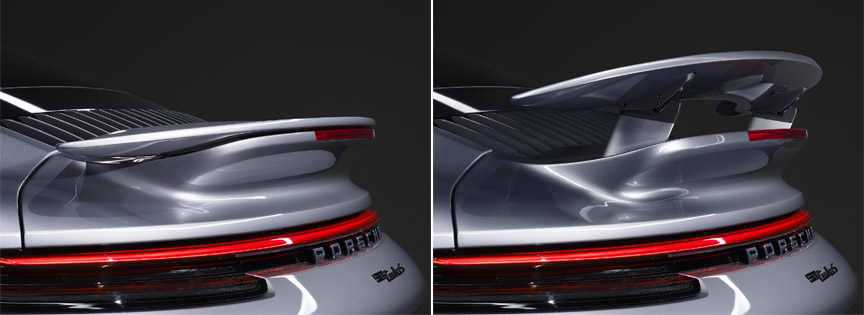 Porsche 911 992 Turbo S rear wing up and down