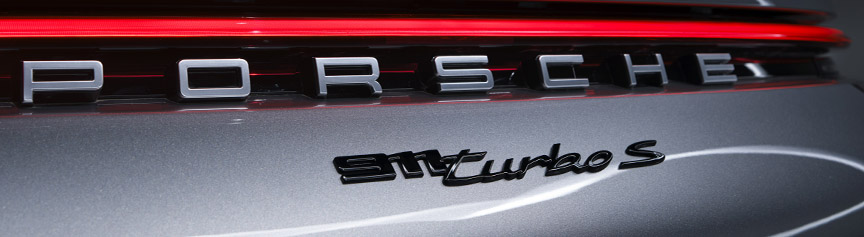 Porsche 911 992 Turbo S rear logo