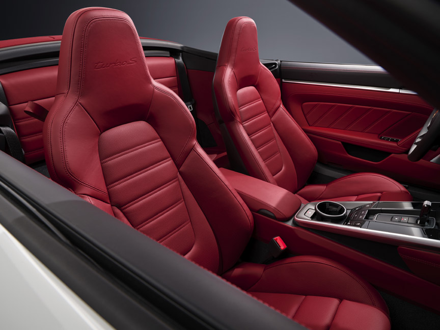 Porsche 911 992 Turbo S Cabriolet red interior