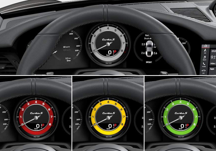 Rev counter ring in White, Red, Yellow, Green
