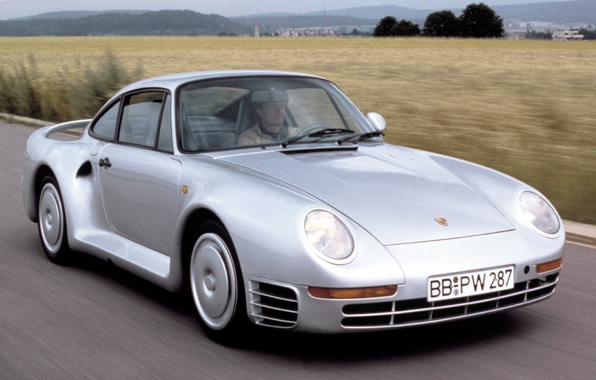 Porsche 959 prototype with wheel covers