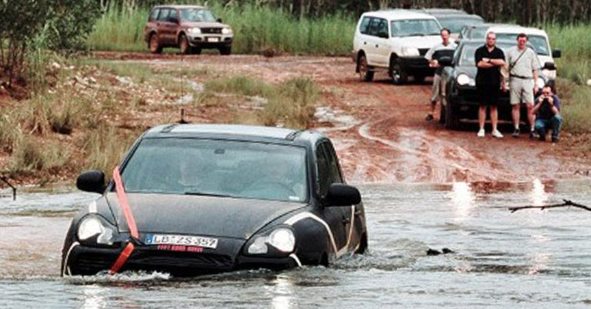 Porsche Cayenne 955 prototype crossing a river
