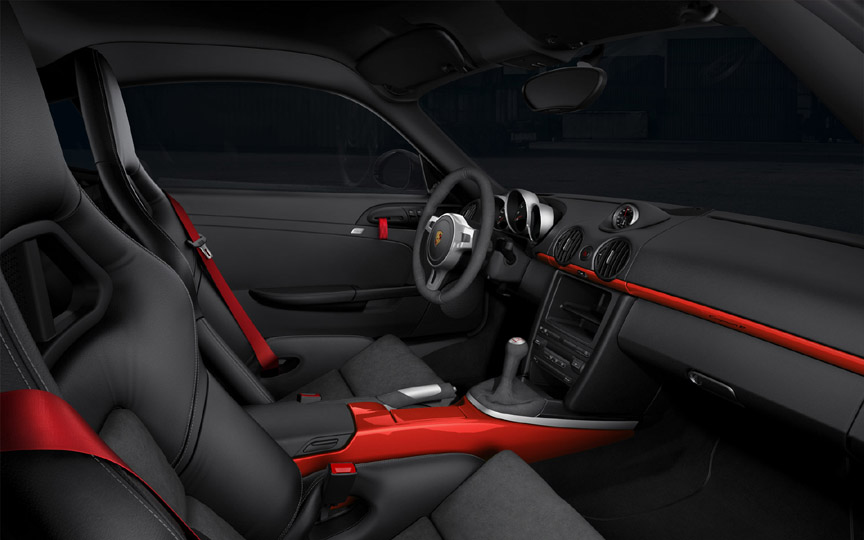 Porsche Cayman R interior with red contrast