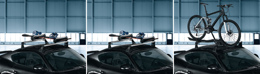 Porsche Cayman 987 roof transport system, ski and bike carrier, roof box