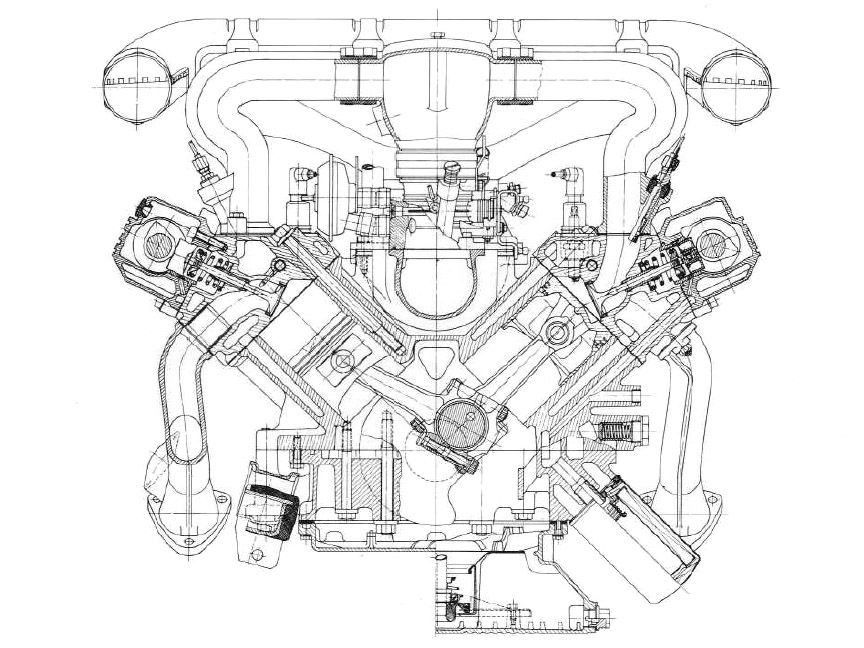 Porsche 928 4.5 V8 engine drawing
