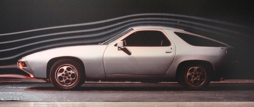 Aerodynamics testing of Porsche 928 in wind tunnel