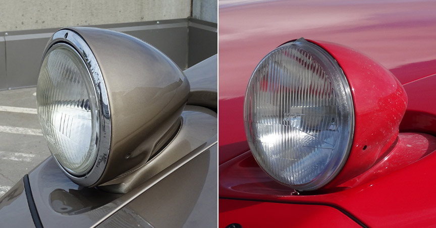 Porsche 928 headlamps: early USA version vs European version