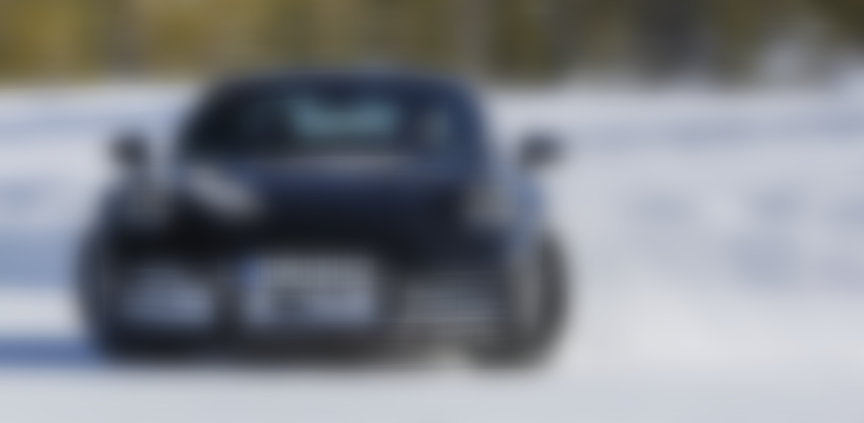 Porsche 911, model year 2019 (992-generation) prototype, sliding on snow test course