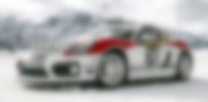 Porsche Cayman 981 R-GT rally car on ice track in Zell am See in 2019